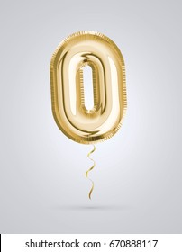 Brilliant Font number 0 made of realistic 3d Gold helium air balloon. Collection of balloon alphabet with Clipping path ready to use for your unique decoration design ; Birthday, Wedding, Party.
