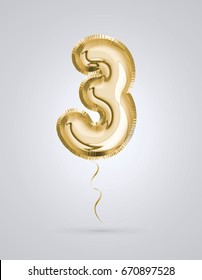 Brilliant Font number 3 made of realistic 3d Gold helium air balloon. Collection of balloon alphabet with Clipping path ready to use for your unique decoration design ; Birthday, Wedding, Party.