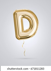 Brilliant letter alphabet D made of realistic 3d Gold helium balloon. Collection of balloon alphabet with Clipping path ready to use for your unique decoration design ; Birthday, Wedding, Party.