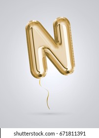 Brilliant letter alphabet N made of realistic 3d Gold helium balloon. Collection of balloon alphabet with Clipping path ready to use for your unique decoration design ; Birthday, Wedding, Party.