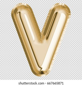 Brilliant letter alphabet V made of realistic 3d Gold helium balloon. Collection of balloon alphabet with Clipping path ready to use for your unique decoration design ; Birthday, Wedding, Party.