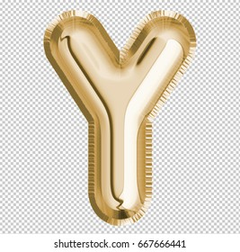 Brilliant letter alphabet Y made of realistic 3d Gold helium balloon. Collection of balloon alphabet with Clipping path ready to use for your unique decoration design ; Birthday, Wedding, Party.