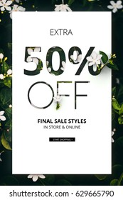 Brilliant Promotion sale poster, banner, ads 50% off discount. Precious Paper cut with real flowers and leaves. For your unique selling poster/banner promotion offer discount ads in several occasion.
