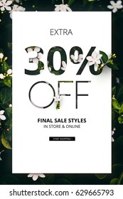 Brilliant Promotion sale poster, banner, ads 30% off discount. Precious Paper cut with real flowers and leaves. For your unique selling poster/banner promotion offer discount ads in several occasion.