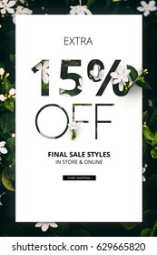 Brilliant Promotion sale poster, banner, ads 15% off discount. Precious Paper cut with real flowers and leaves. For your unique selling poster/banner promotion offer discount ads in several occasion.