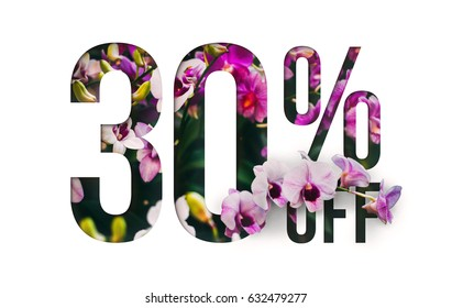 Brilliant Promotion sale poster, banner, ads 30% off discount. Precious Paper cut with real orchid flowers and leaves. For your unique selling poster / banner promotion offer discount ads.