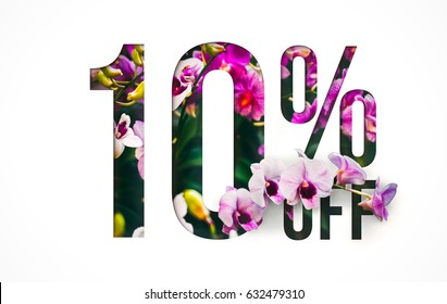Brilliant Promotion sale poster, banner, ads 10% off discount. Precious Paper cut with real orchid flowers and leaves. For your unique selling poster / banner promotion offer discount ads.
