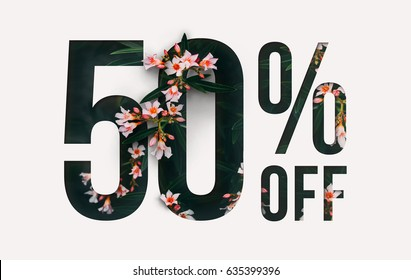 Brilliant Promotion sale poster, banner, ads 50% off discount. Precious Paper cut with real orchid flowers and leaves. For your unique selling poster / banner promotion offer percent discount ads.