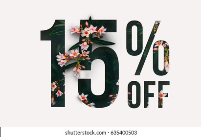 Brilliant Promotion sale poster, banner, ads 15% off discount. Precious Paper cut with real orchid flowers and leaves. For your unique selling poster / banner promotion offer percent discount ads.