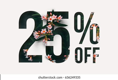 Brilliant Promotion sale poster, banner, ads 25% off discount. Precious Paper cut with real flowers and leaves. For your unique selling poster / banner promotion offer percent discount ads.
