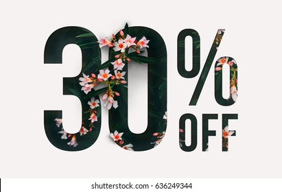 Brilliant Promotion sale poster, banner, ads 30% off discount. Precious Paper cut with real flowers and leaves. For your unique selling poster / banner promotion offer percent discount ads.
