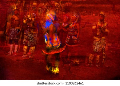 Brilliantly Colored African Dancer in Motion watch by other Dancers against a red textured background