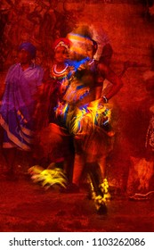 Brilliantly Colored African Male dancer Portrait in motion against a red textured background
