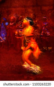 Brilliantly colored female African dancer against a red textured background