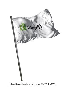 BRISBANE, AUSTRALIA - JULY 11, 2017: Shopify Flag Waving Isolated on White Background Portrait illustrative editorial