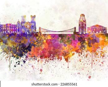 Bristol skyline in watercolor background