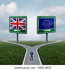 Britain European Union decision as a brexit concept and UK vote confusion or Euro zone dilemma as a person standing on a crossroad dilemma with flags on road signs with 3D illustration elements.