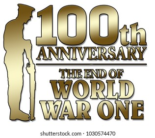Britian, United Kingdom  - The end of World War One. 100th anniversay banner. 1918 - 2018. Original design.
