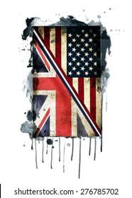 British and american flag illustration.T-shirt Graphics.Canvas print, tattoo design.