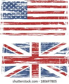 British and American grunge flags. Raster version