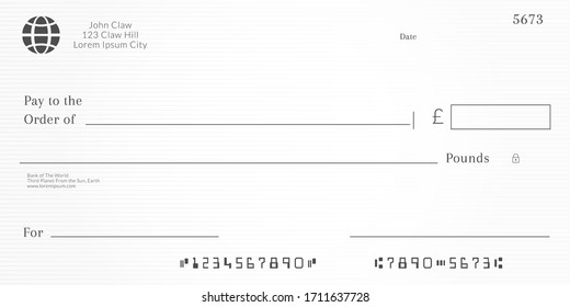 British checkbook page. Bank check template with pound currency. Blank Cheque