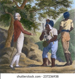 British Colonel Guthrie and Jamaican Maroon Colonel Cudjoe exchanged hats as a sign of friendship and sign the Treaty of 1738 ending the First Maroon War in Jamaica 1803 engraving with modern color.