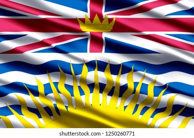 British Columbia 3D waving flag illustration. Texture can be used as background.