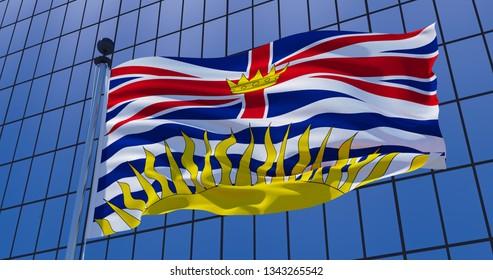 British Columbia, Canada flag on skyscraper building background. 3d illustration