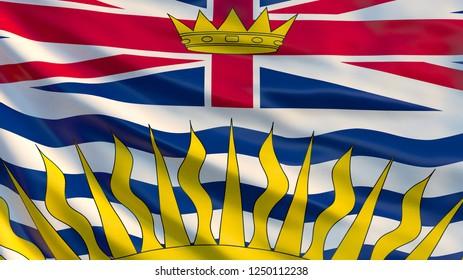 British Columbia flag. Waving flag of British Columbia province, Canada