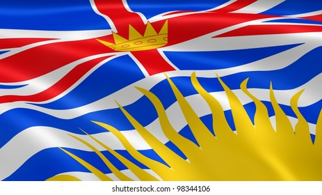 British Columbian flag in the wind. Part of a series.