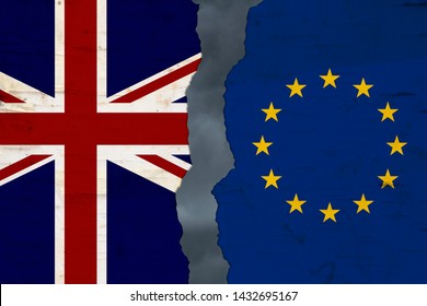 British and EU flags that are torn apart brexit with stormy sky background 3D Illustration