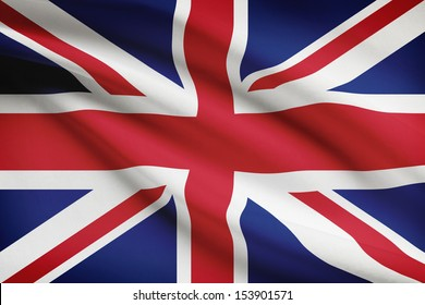 British flag blowing in the wind. Part of a series.