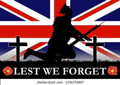 British flag on a World War 1 banner. War scene with circa 1915 soldier uniform silhouettes. Original digital illustration.