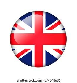 The British flag. Round glossy icon. Isolated on white background.