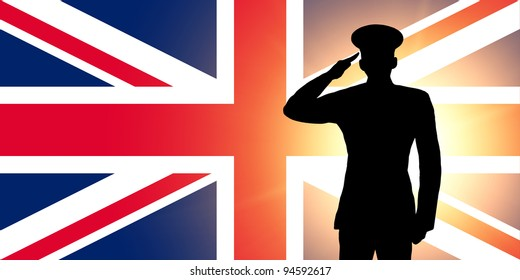 The British flag and the silhouette of a soldier's military salute
