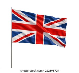The British flag waving in the wind, isolated on white background.