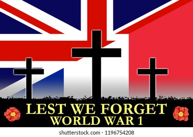 British and French flags on a World War 1 banner. War scene of crosses in sihlouette. Original digital illustration.