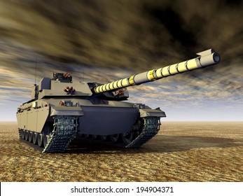British Main Battle Tank Computer generated 3D illustration