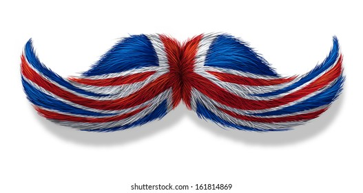 British mustache symbol with the flag of Britain as an icon of a European macho male culture or concept for an English restaurant or old money icon on a white background.
