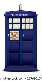 British Police Box. A classic blue vintage british police public call box.
