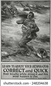 British poster instructing soldiers in use of WW1 gas masks. 1915. It reads, 'Learn to adjust your respirator correct and quick...,' soldier on the battlefield, collapsing and clutching his throat.'