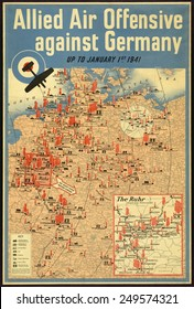 British poster map of the Allied aerial bombing of Germany up to January 1941.