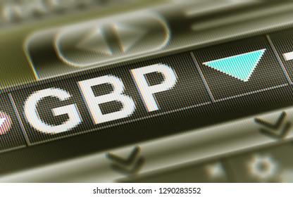 British pound. Down. 3D Illustration.