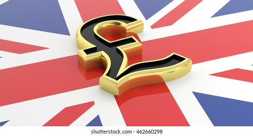 British pound symbol on a UK flag. 3d illustration