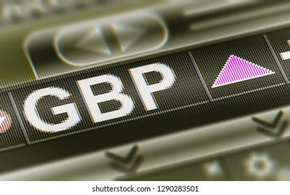 British pound. Up. 3D Illustration.