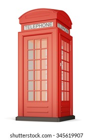 British red phone booth isolated on white bcakground. 3d rendering.