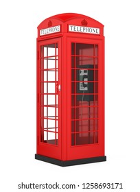 British Red Telephone Booth Isolated. 3D rendering