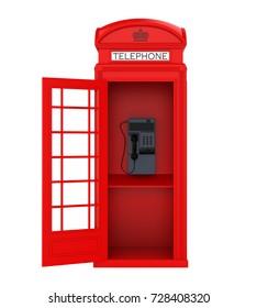 British Red Telephone Booth with Open Door. 3D rendering