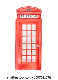 British red telephone box watercolor illustration. One single object, front view, bright beautiful gradient. Handdrawn water color artistic sketchy paint, cutout clipart element for design decoration.