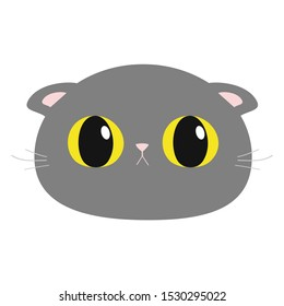 British Shorthair cat round head face icon. Cute funny cartoon character. Big yellow eyes. Sad emotion. Kitty Whisker Baby pet collection. White background. Isolated. Flat design